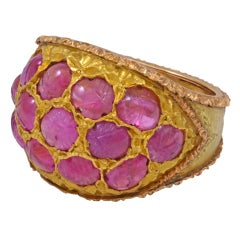Buccellati Carved Ruby Gold Cocktail Ring