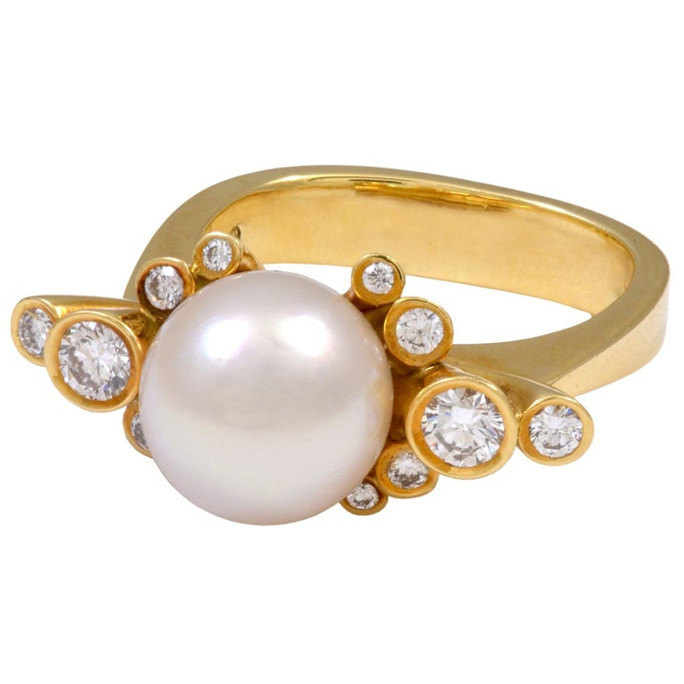 Georg jensen diamond and pearl gold ring no 63 at 1stdibs for Georg jensen wedding rings