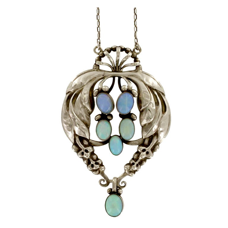 Georg Jensen Sterling Silver Opal Pendant Necklace At 1stdibs