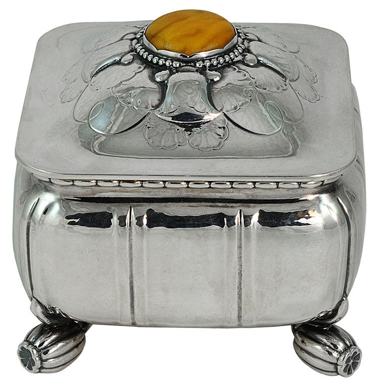 georg jensen sterling box with butterscotch amber no 30 at 1stdibs. Black Bedroom Furniture Sets. Home Design Ideas