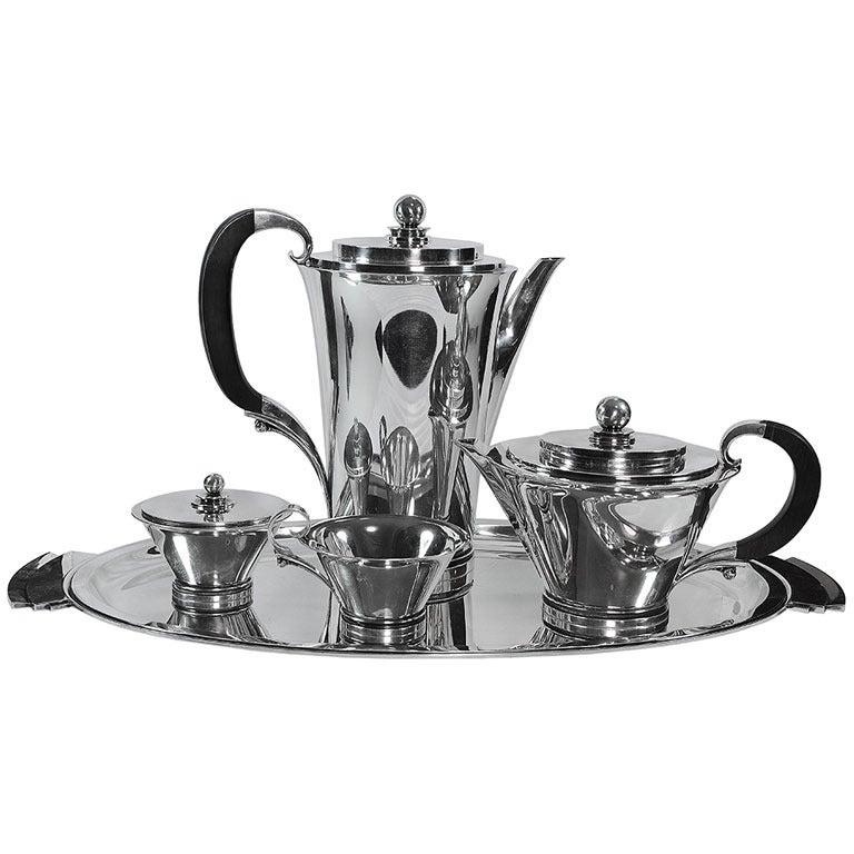 georg jensen pyramid coffee tea service no 600 at 1stdibs. Black Bedroom Furniture Sets. Home Design Ideas