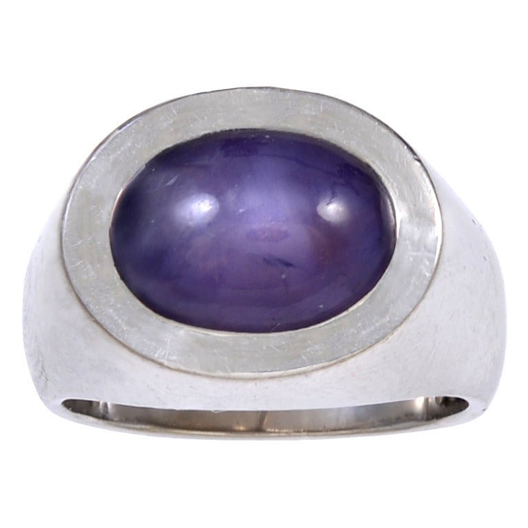 georg jensen and wendel cabochon star sapphire gold ring at 1stdibs. Black Bedroom Furniture Sets. Home Design Ideas