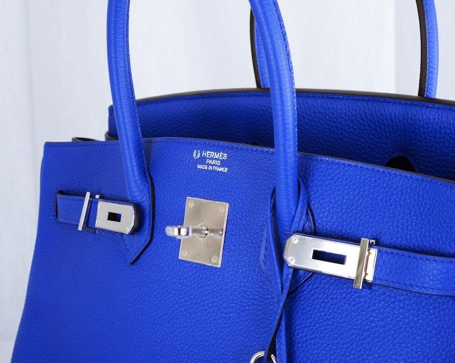 SO BI COLOR HORSESHOE HERMES BIRKIN BAG 35CM BLUE ELECTRIC IRIS at ...