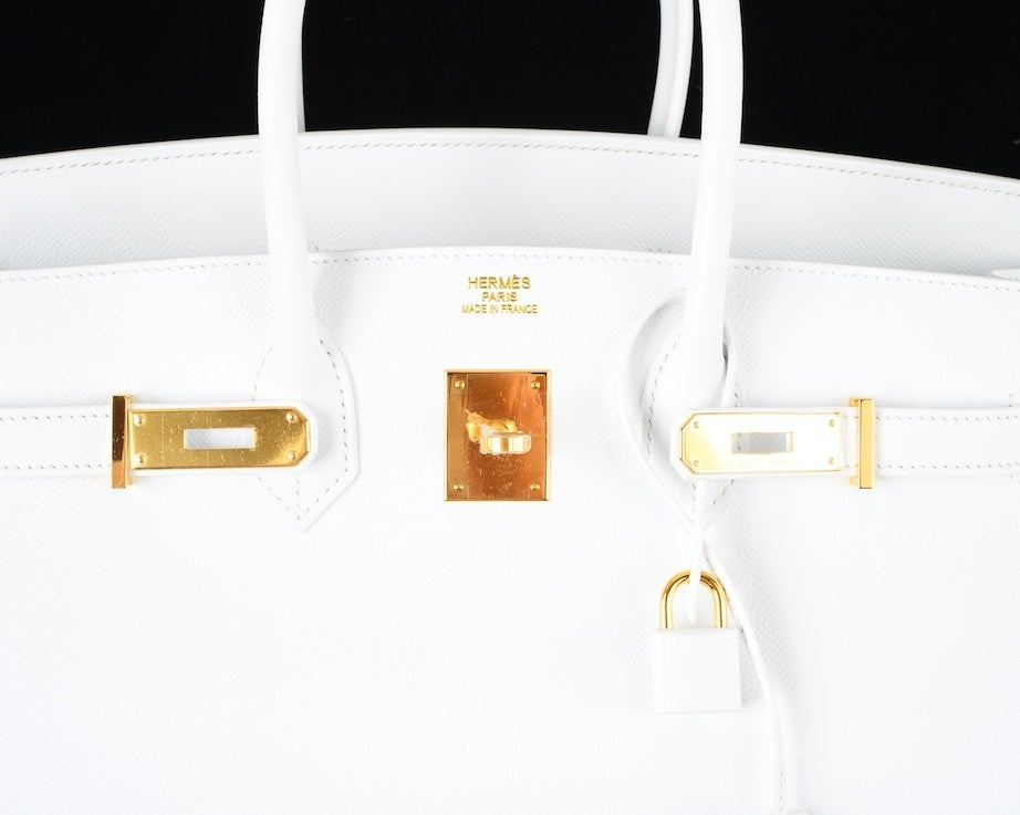 HERMES BIRKIN BAG 35 WHITE with GOLD HARDWARE EPSOM MY FAVE image 10