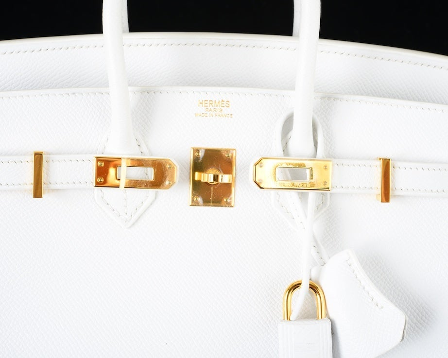 HERMES BIRKIN BAG 35 WHITE with GOLD HARDWARE EPSOM MY FAVE image 5