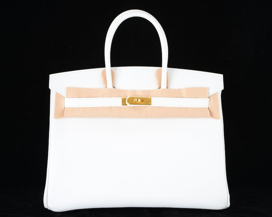 HERMES BIRKIN BAG 35 WHITE with GOLD HARDWARE EPSOM MY FAVE image 6