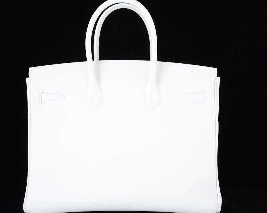 HERMES BIRKIN BAG 35 WHITE with GOLD HARDWARE EPSOM MY FAVE image 8