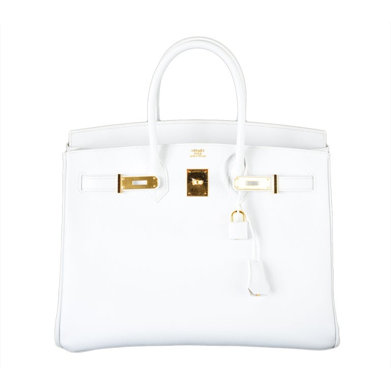 HERMES BIRKIN BAG 35 WHITE with GOLD HARDWARE EPSOM MY FAVE