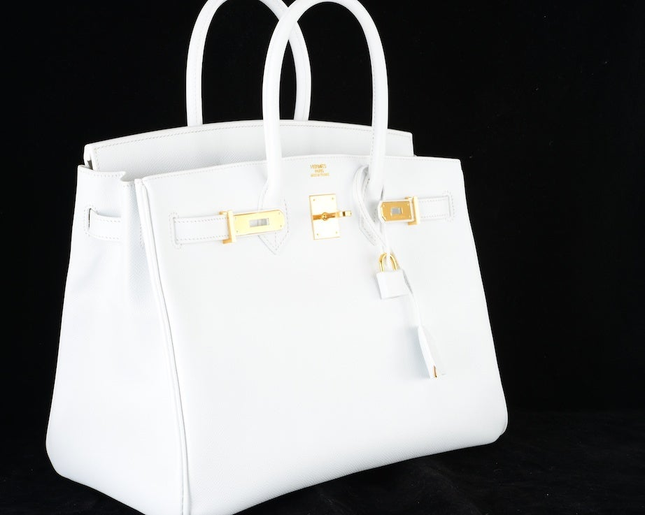 HERMES BIRKIN BAG 35 WHITE with GOLD HARDWARE EPSOM MY FAVE image 2
