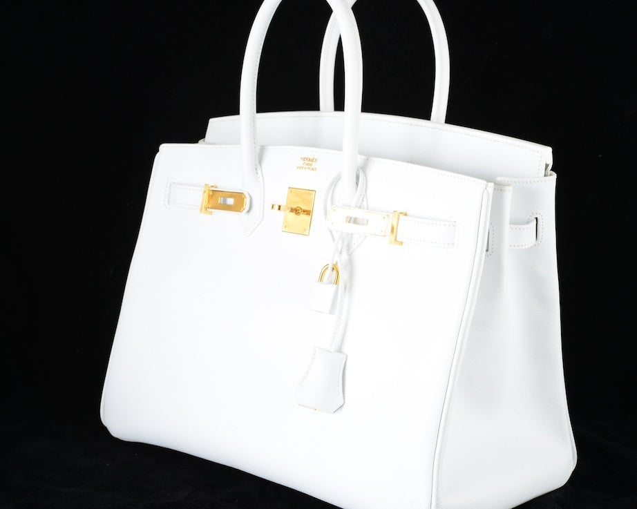 HERMES BIRKIN BAG 35 WHITE with GOLD HARDWARE EPSOM MY FAVE image 3