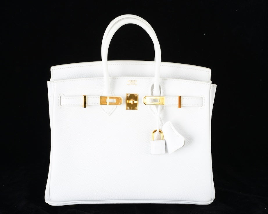 HERMES BIRKIN BAG 25 WHITE with GOLD HARDWEAR EPSOM THE BEST image 2