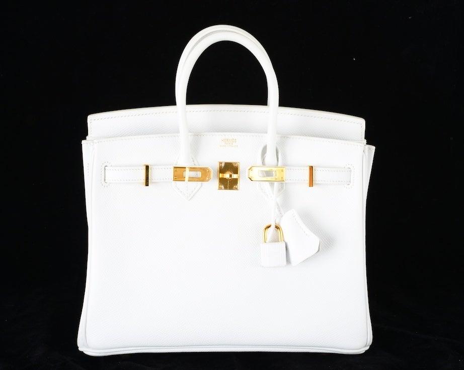 HERMES BIRKIN BAG 25 WHITE with GOLD HARDWEAR EPSOM THE BEST image 2