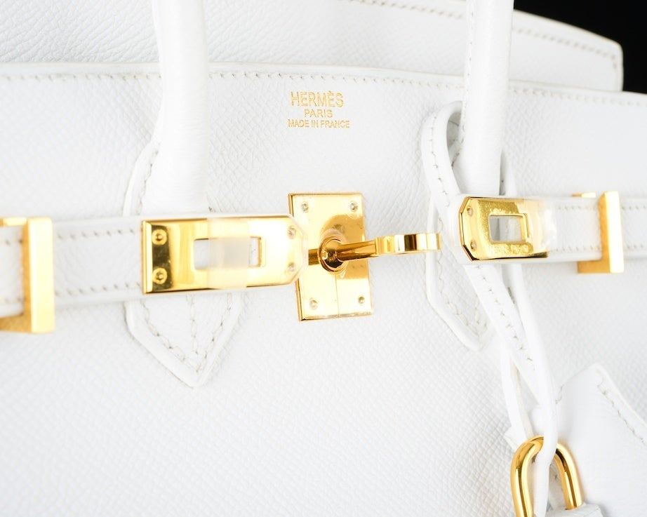 HERMES BIRKIN BAG 25 WHITE with GOLD HARDWEAR EPSOM THE BEST image 3