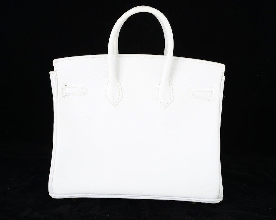 HERMES BIRKIN BAG 25 WHITE with GOLD HARDWEAR EPSOM THE BEST image 4