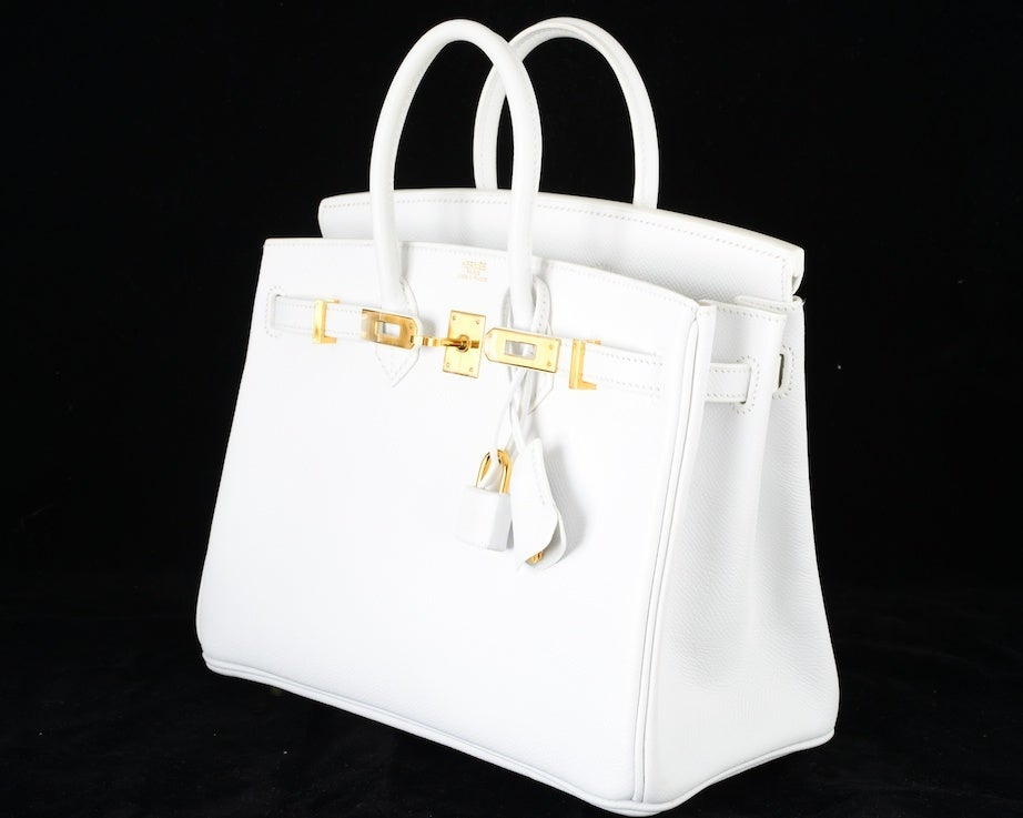 HERMES BIRKIN BAG 25 WHITE with GOLD HARDWEAR EPSOM THE BEST image 5
