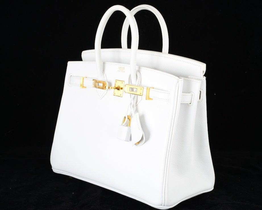 HERMES BIRKIN BAG 25 WHITE with GOLD HARDWEAR EPSOM THE BEST image 5