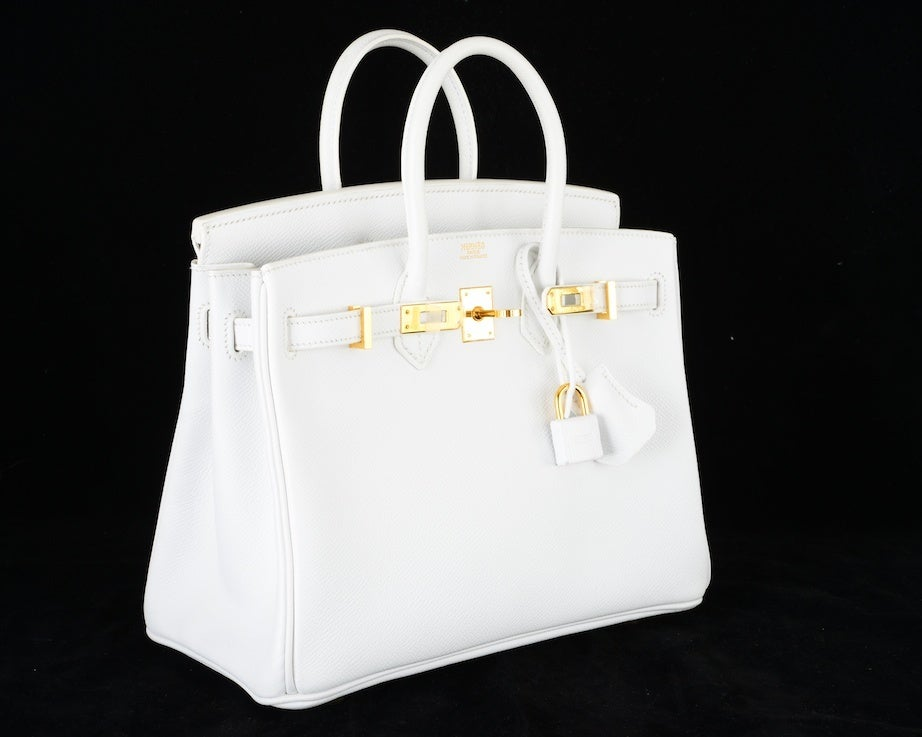 HERMES BIRKIN BAG 25 WHITE with GOLD HARDWEAR EPSOM THE BEST image 6