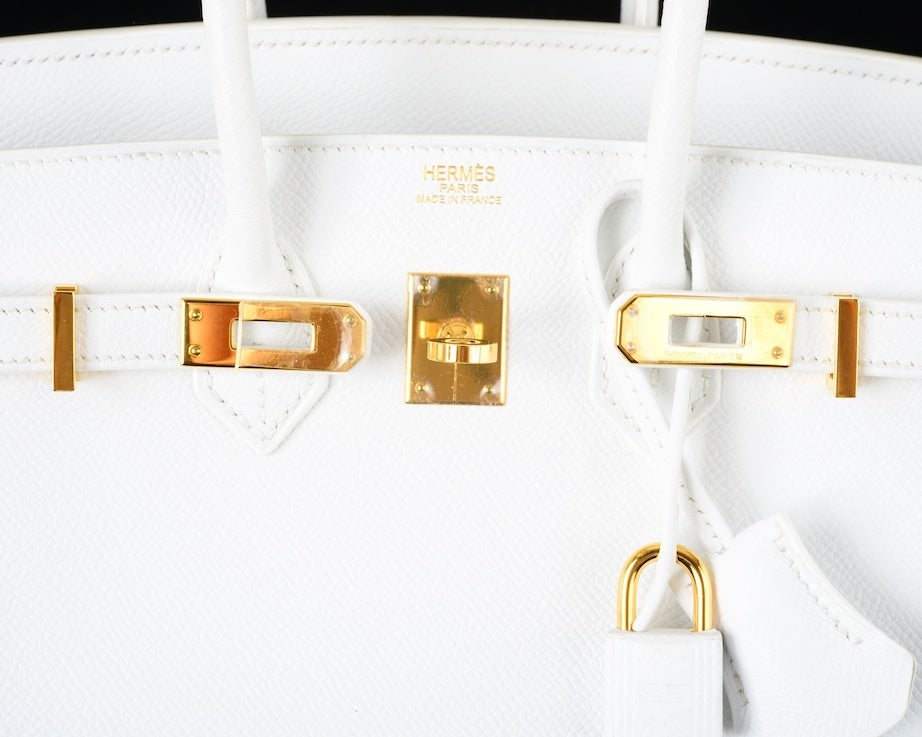 HERMES BIRKIN BAG 25 WHITE with GOLD HARDWEAR EPSOM THE BEST image 7