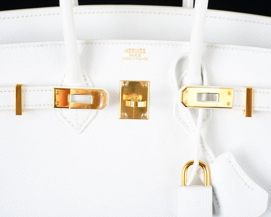 HERMES BIRKIN BAG 25 WHITE with GOLD HARDWEAR EPSOM THE BEST image 7