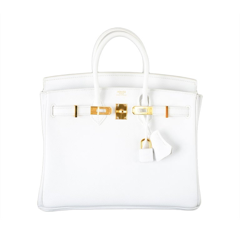HERMES BIRKIN BAG 25 WHITE with GOLD HARDWEAR EPSOM THE BEST