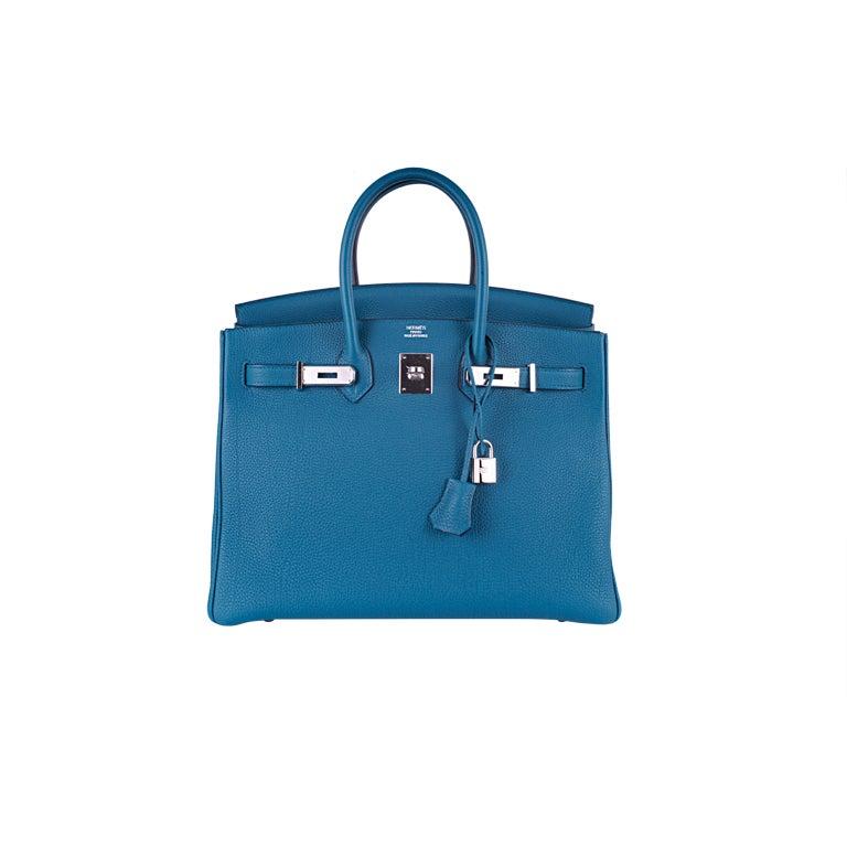 HERMES 35CM BIRKIN BAG COBALT BLUE NEW COLOR!