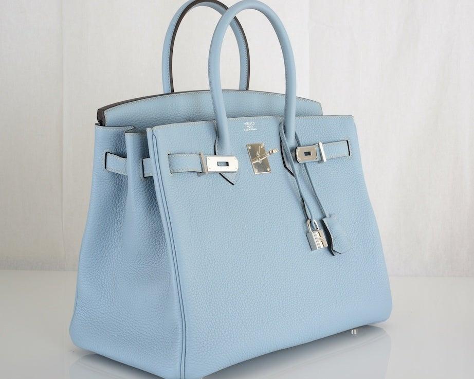 hermes wallet replica - So Pretty New Color Hermes Birkin Bag 35cm Blue Lin Bleu Lin at ...