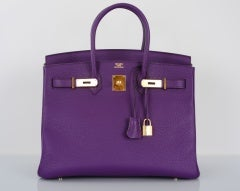 NEW 2DIE4 COLOR HERMES BIRKIN BAG ULTRA VIOLET WITH GOLD HARDWAR thumbnail 2