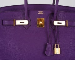 NEW 2DIE4 COLOR HERMES BIRKIN BAG ULTRA VIOLET WITH GOLD HARDWAR thumbnail 3