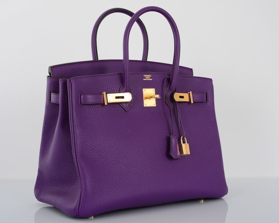 NEW 2DIE4 COLOR HERMES BIRKIN BAG ULTRA VIOLET WITH GOLD HARDWAR image 4