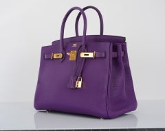 NEW 2DIE4 COLOR HERMES BIRKIN BAG ULTRA VIOLET WITH GOLD HARDWAR thumbnail 5