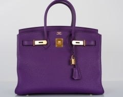 NEW 2DIE4 COLOR HERMES BIRKIN BAG ULTRA VIOLET WITH GOLD HARDWAR thumbnail 7