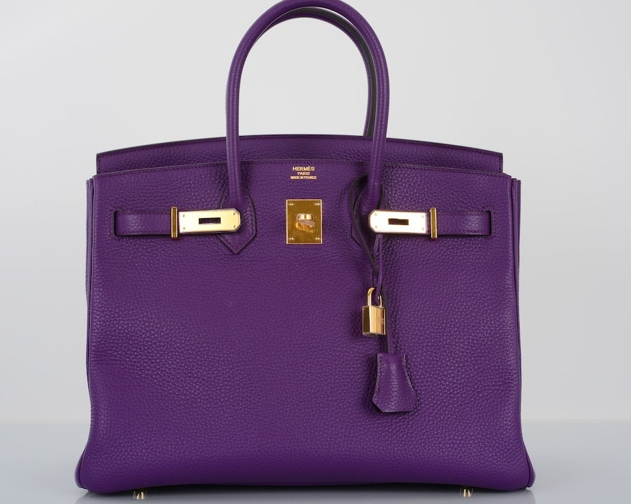 NEW 2DIE4 COLOR HERMES BIRKIN BAG ULTRA VIOLET WITH GOLD HARDWAR image 7