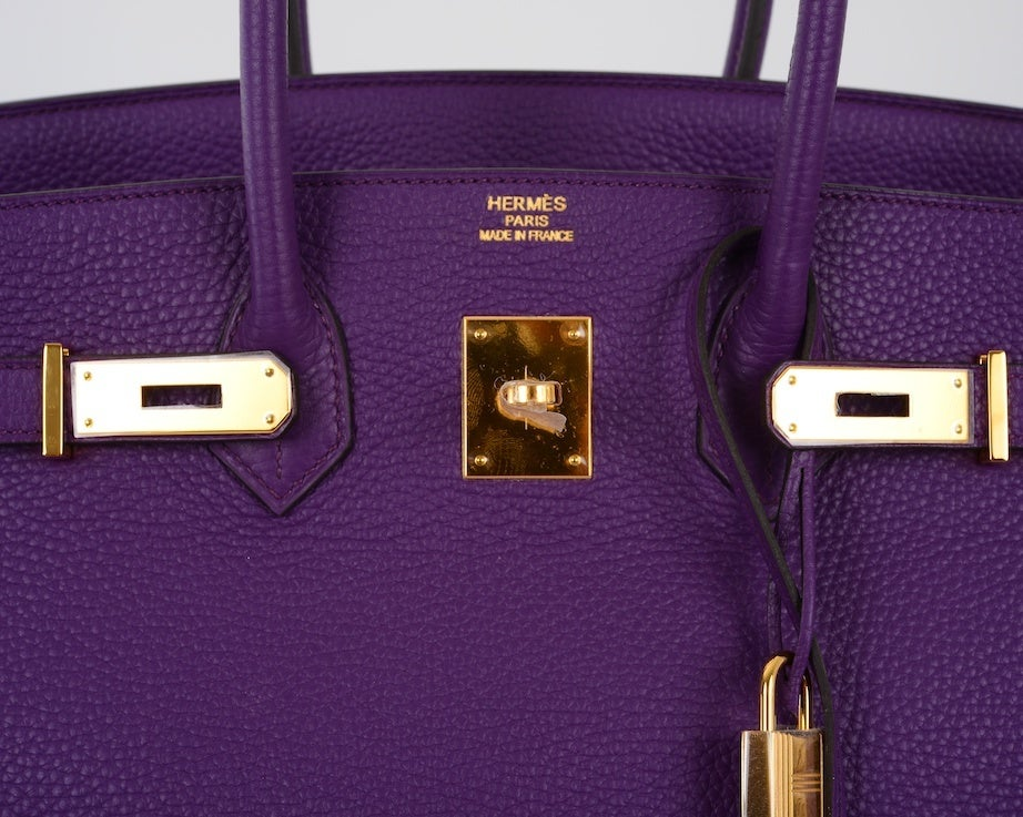 NEW 2DIE4 COLOR HERMES BIRKIN BAG ULTRA VIOLET WITH GOLD HARDWAR image 8