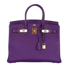 NEW 2DIE4 COLOR HERMES BIRKIN BAG ULTRA VIOLET WITH GOLD HARDWAR thumbnail 1