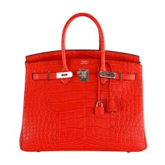ON FIRE! NEW COLOR HERMES BIRKIN BAG 35cm CROCODILE MATTE RED