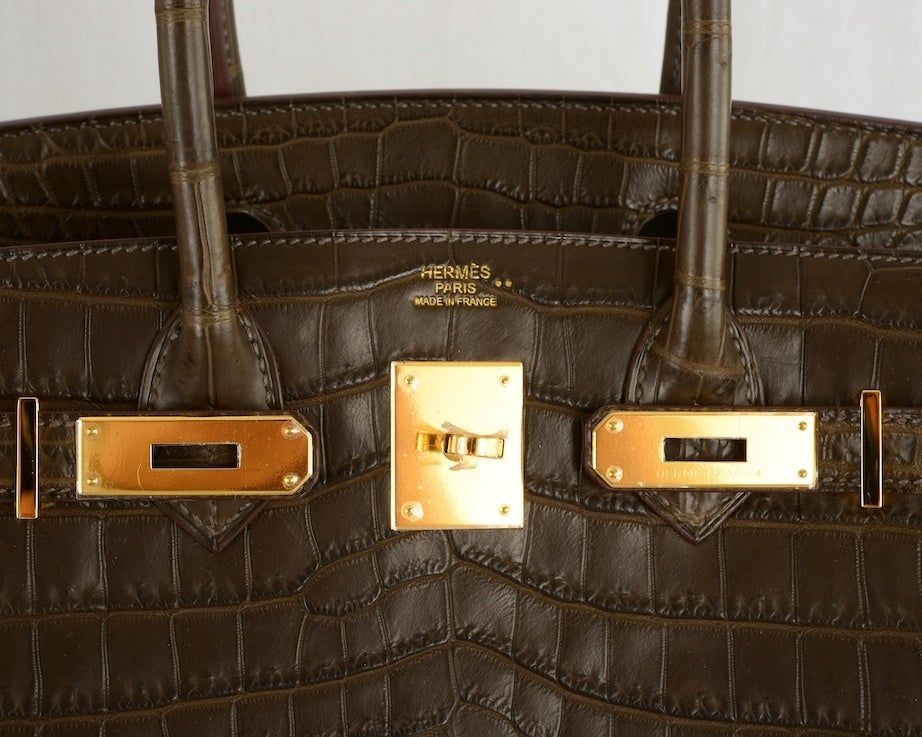 Special Hermes Birkin Bag 30cm Crocodile Matte Gris Elephant Gol ...