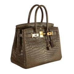 Special Hermes Birkin Bag 30cm Crocodile Matte Gris Elephant Gol