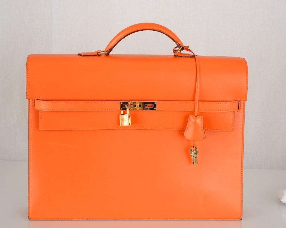ONE OF A KIND HERMES KELLY BAG BRIEFCASE W GOLD HARDWARE! image 2