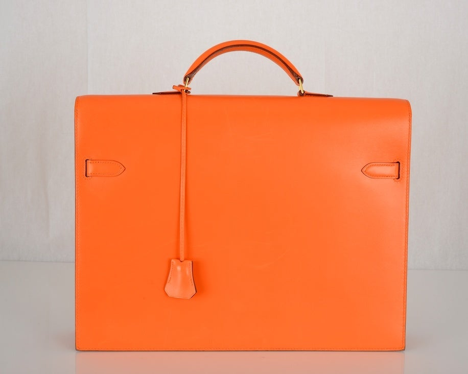 ONE OF A KIND HERMES KELLY BAG BRIEFCASE W GOLD HARDWARE! image 3