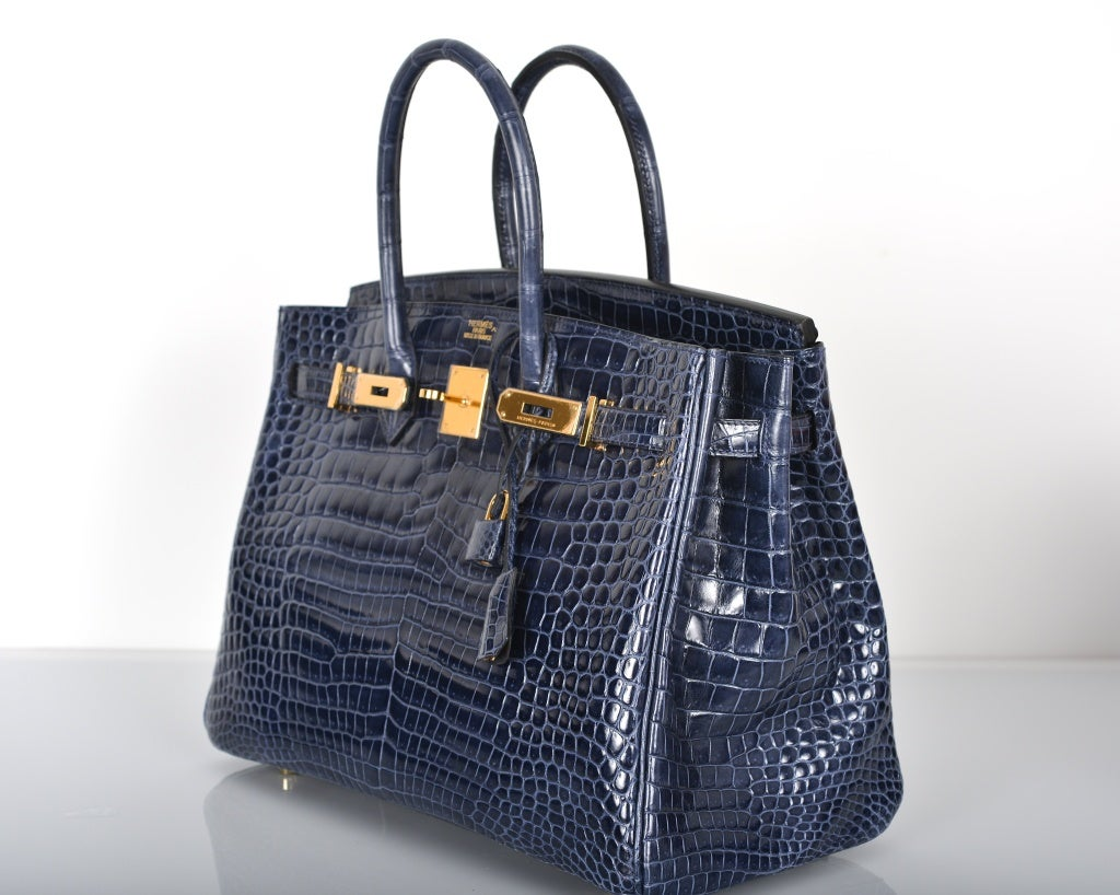 HERMES BIRKIN BAG 35CM BLUE ABYSSE CROCODILE GOLD HARDWARE image 3