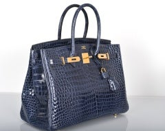HERMES BIRKIN BAG 35CM BLUE ABYSSE CROCODILE GOLD HARDWARE thumbnail 2