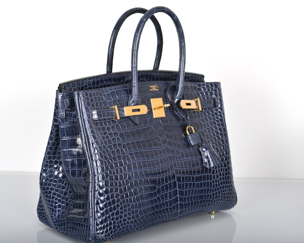 HERMES BIRKIN BAG 35CM BLUE ABYSSE CROCODILE GOLD HARDWARE image 2