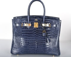 HERMES BIRKIN BAG 35CM BLUE ABYSSE CROCODILE GOLD HARDWARE thumbnail 4