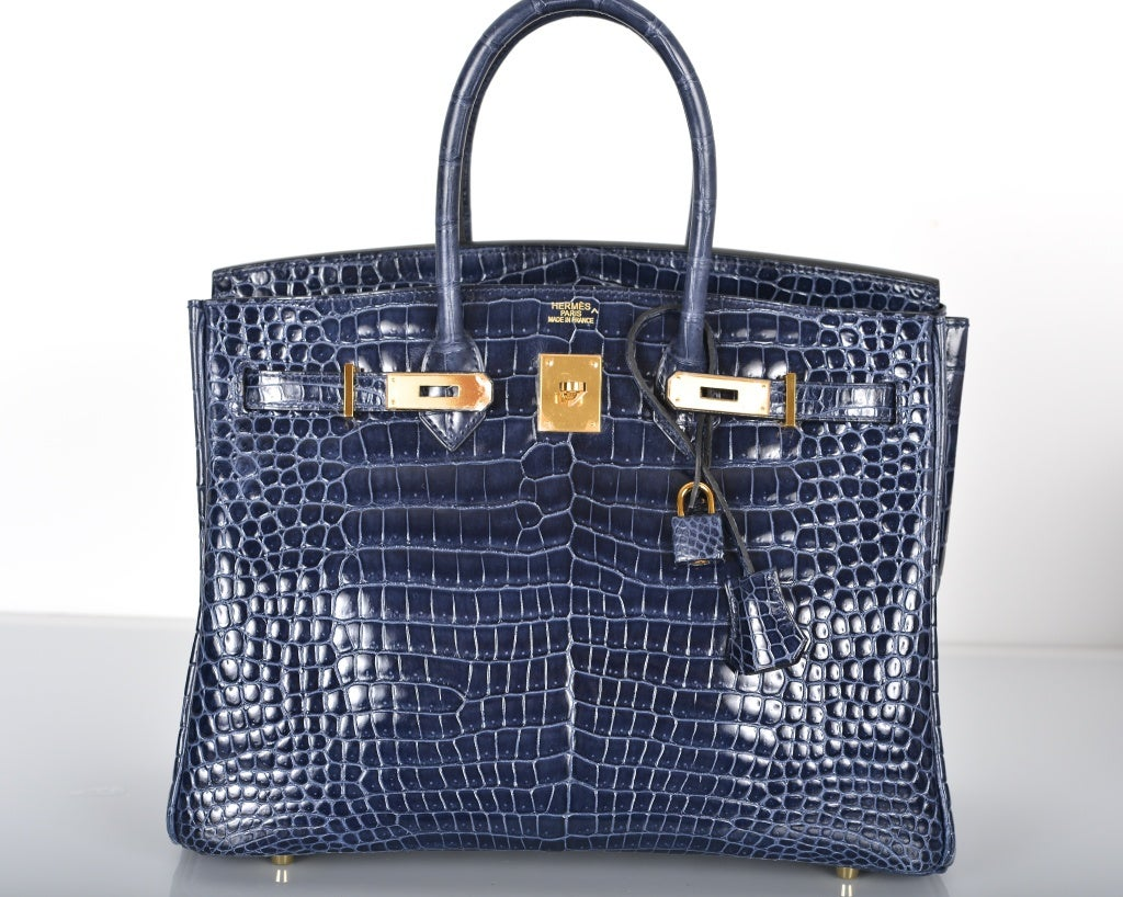 HERMES BIRKIN BAG 35CM BLUE ABYSSE CROCODILE GOLD HARDWARE image 4