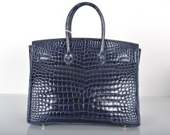HERMES BIRKIN BAG 35CM BLUE ABYSSE CROCODILE GOLD HARDWARE thumbnail 5