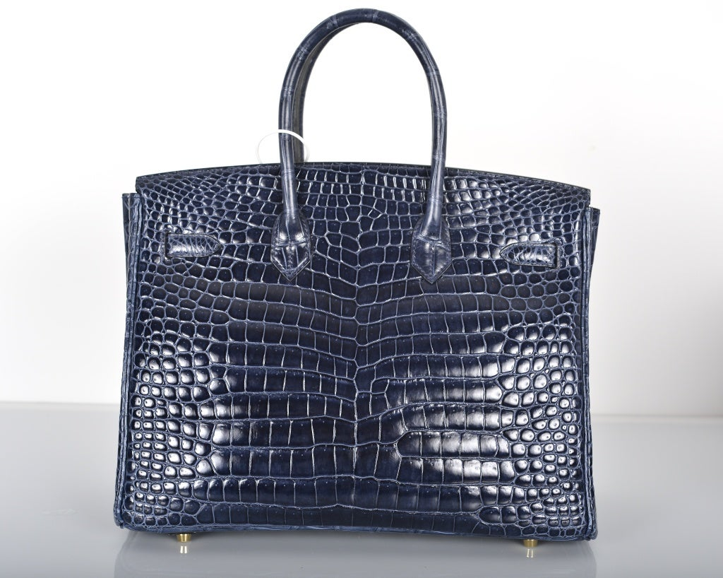 HERMES BIRKIN BAG 35CM BLUE ABYSSE CROCODILE GOLD HARDWARE image 5