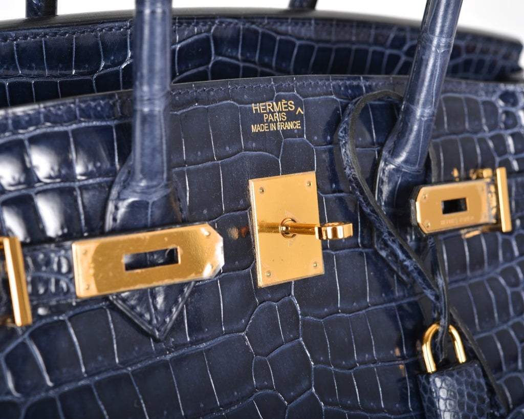 HERMES BIRKIN BAG 35CM BLUE ABYSSE CROCODILE GOLD HARDWARE image 6