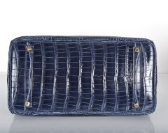 HERMES BIRKIN BAG 35CM BLUE ABYSSE CROCODILE GOLD HARDWARE thumbnail 8