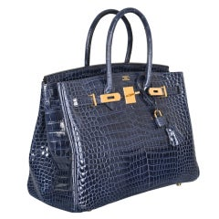 HERMES BIRKIN BAG 35CM BLUE ABYSSE CROCODILE GOLD HARDWARE thumbnail 1