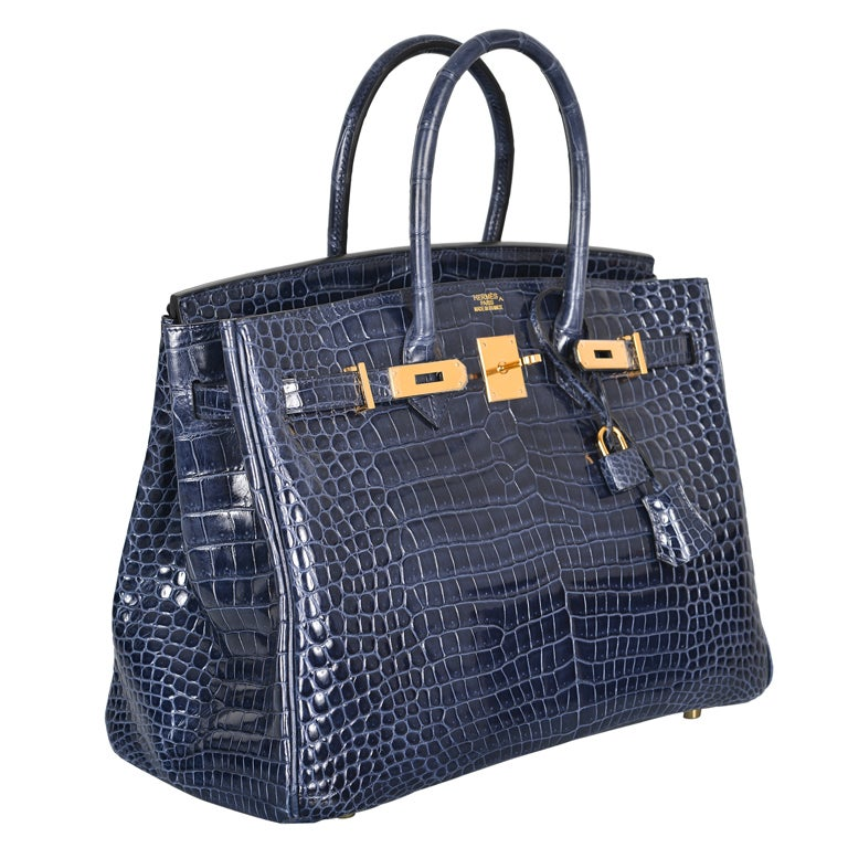 HERMES BIRKIN BAG 35CM BLUE ABYSSE CROCODILE GOLD HARDWARE